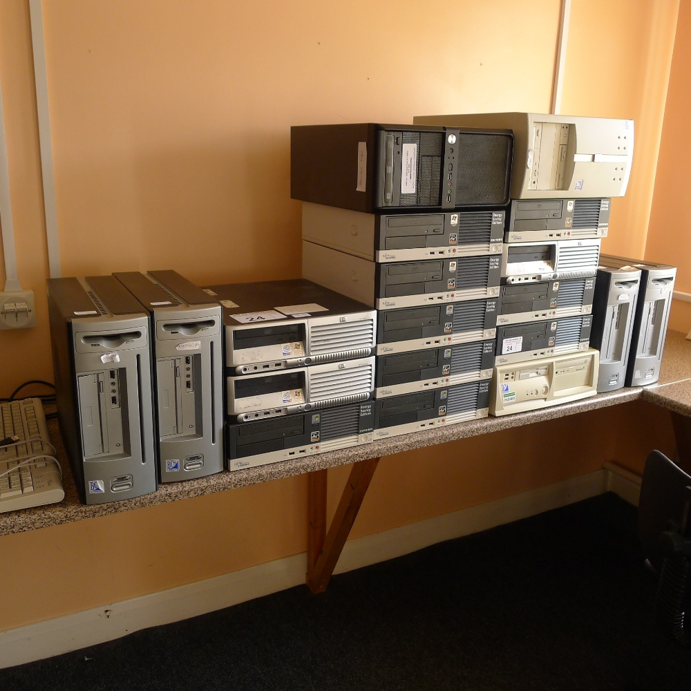Lot 24 - 19 various desktop computers (no screens, keyboards, mice or operating systems) (located in junior