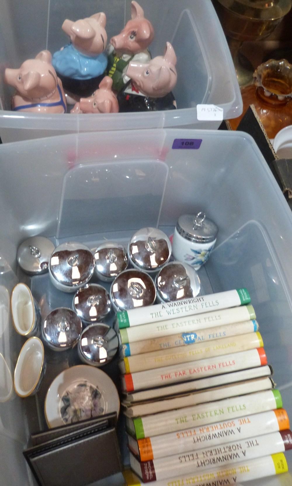 Lot 108 - A set of Wade Nat.West piggybanks, Wainwright books and Royal Worcester ceramics