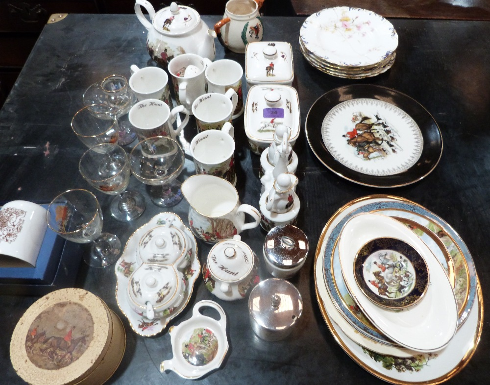 Lot 34 - A collection of ceramics and glassware, most pieces decorated with an equestrian theme
