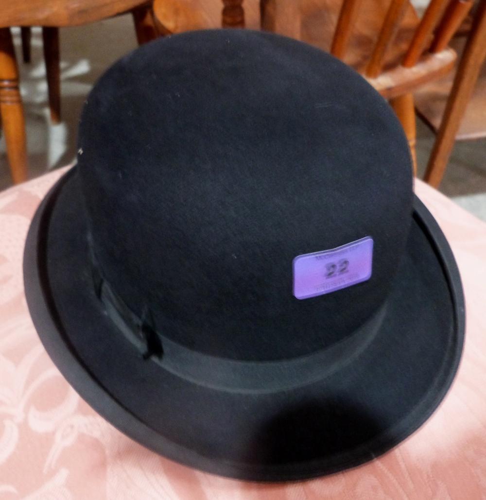 Lot 22 - A riding bowler hat by Woodrow, Piccadilly, London. Internal rim diameter. 8' x 6½'