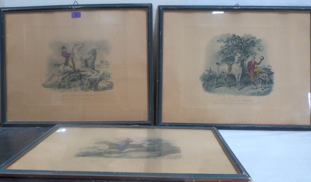 Lot 12 - CARLE VERNET. FRENCH 19th CENTURY Three hunting prints. Coloured lithographs. 18' x 23'