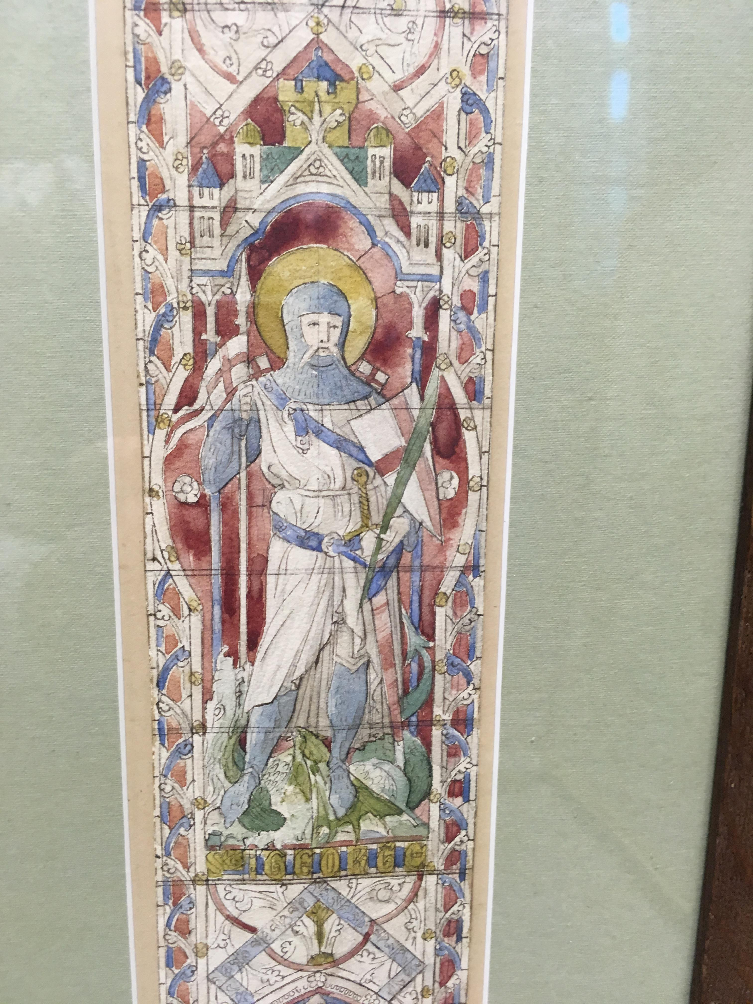 Lot 113 - ENGLISH SCHOOL (19th CENTURY) A STAINED GLASS WINDOW DESIGN FEATURING THE LIFE OF ST GEORGE pen, ink