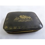 Lot 299 - A late 18th century tortoiseshell and gold patch box of rounded rectangular form the hinged cover