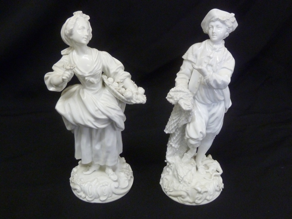 Lot 167 - A pair of blanc de chine figurines of a flower seller and a fisherman, marks to the bases, A/F