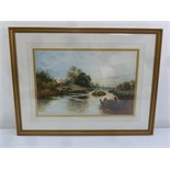 Lot 70 - A framed and glazed watercolour of river scene with a barge, 34.5 x 52cm