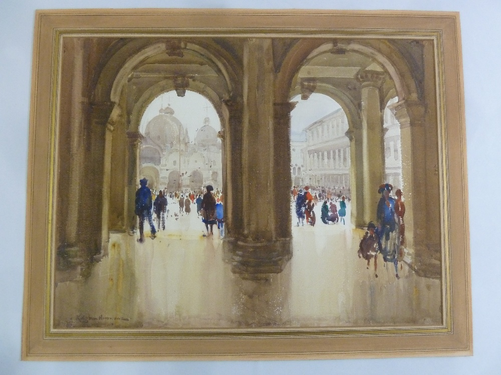 Lot 68 - Arthur Henry Knighton-Hammond 1875-1970 framed and glazed watercolour of St Marks Square Venice,