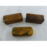 Lot 293 - Two 19th century wooden rectangular snuff boxes the hinged covers depicting hunting scenes and a