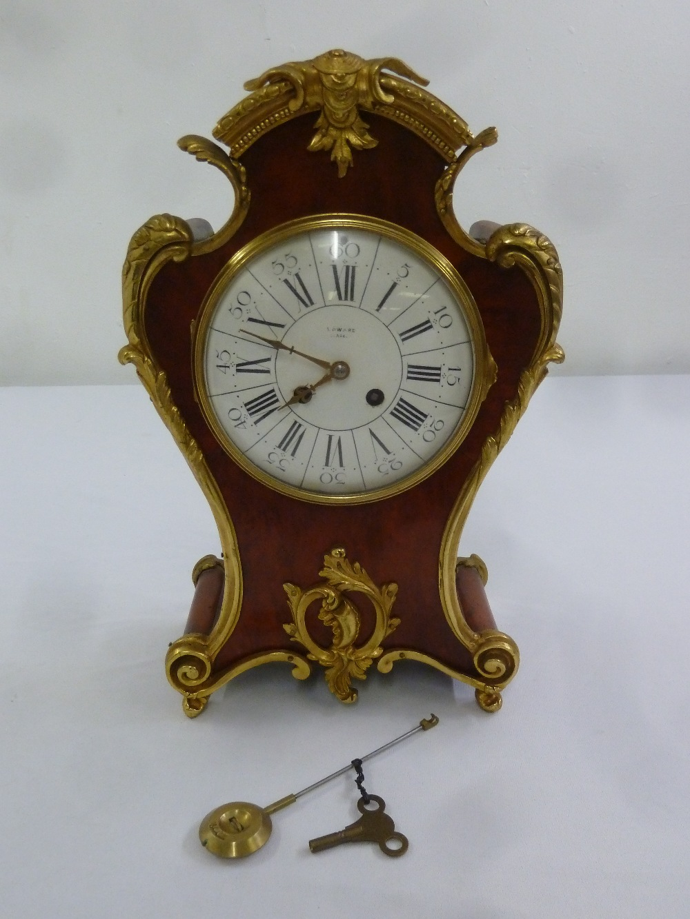 Lot 400 - Edwards of Glasgow tortoiseshell and gilded metal mantle clock in the French style white enamel