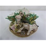 Lot 168 - A Meissen style flower bowl decorated with figures of children to sides, A/F