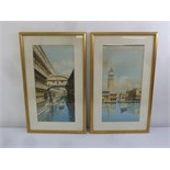 Lot 66 - A pair of framed and glazed watercolours of Venetian canal scenes, 58 x 29cm