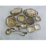 Lot 398 - A quantity of silver plate to include entrée dish and cover, bonbon dishes and a ladle
