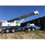 P & H 60-TON TRAVELLING TELESCOPIC CRANE, 13 SPEED c/w 44FT. BOOM & 26FT. SIDE JIB, AIR BRAKES,