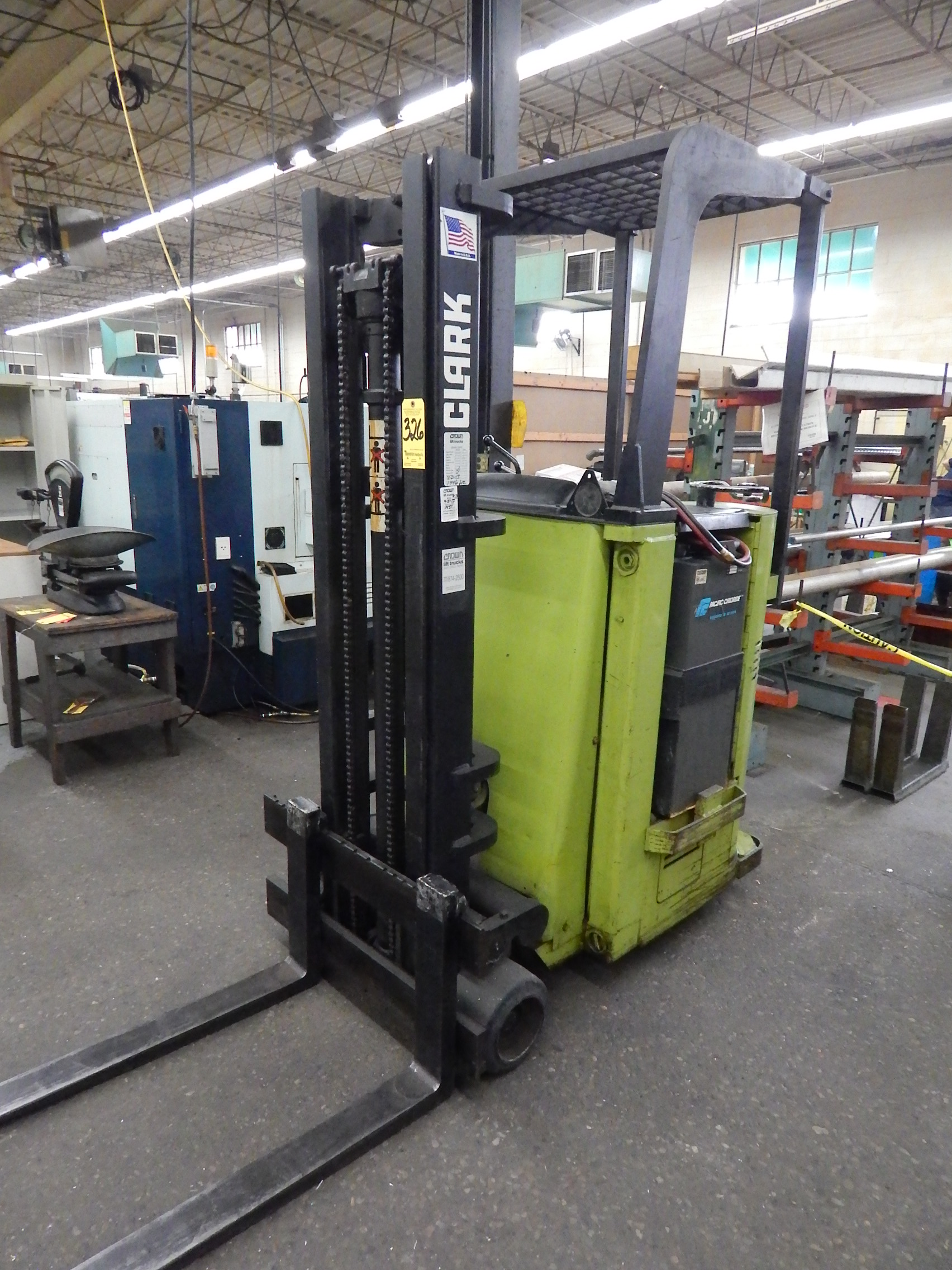 Lot 326 - Clark Model NST-25 Narrow Aisle Stand on Electric Forklift. s