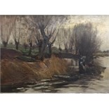 Lot 2184 - FREDERICK WILLIAM NEWTON WHITEHEAD (1853-1938) REED CUTTERS ON A RIVER Signed, the word `Leamington`