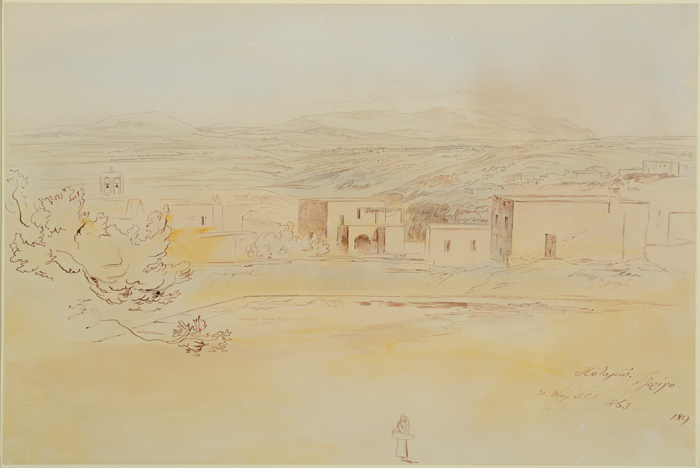 Lot 2094 - EDWARD LEAR (1812-1888) POTAMOS (KYTHIRA) Inscribed (in ink over pencil) in Greek, dated 21. May.