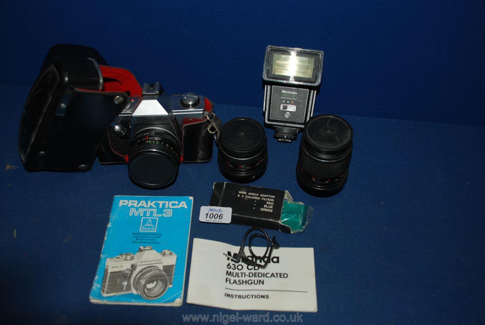 Lot 1006 - A Praktica MTL3 SLR Camera with 50mm lense, Eveready case, Carl Zeiss Jena 35mm 52.