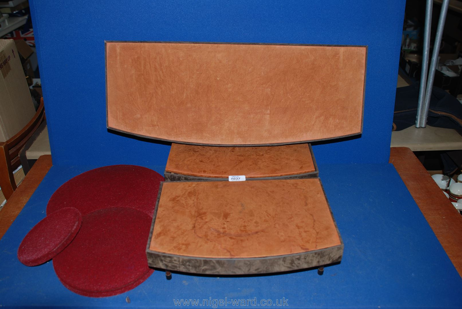 Lot 1037 - Three jeweler's bow fronted display stands,