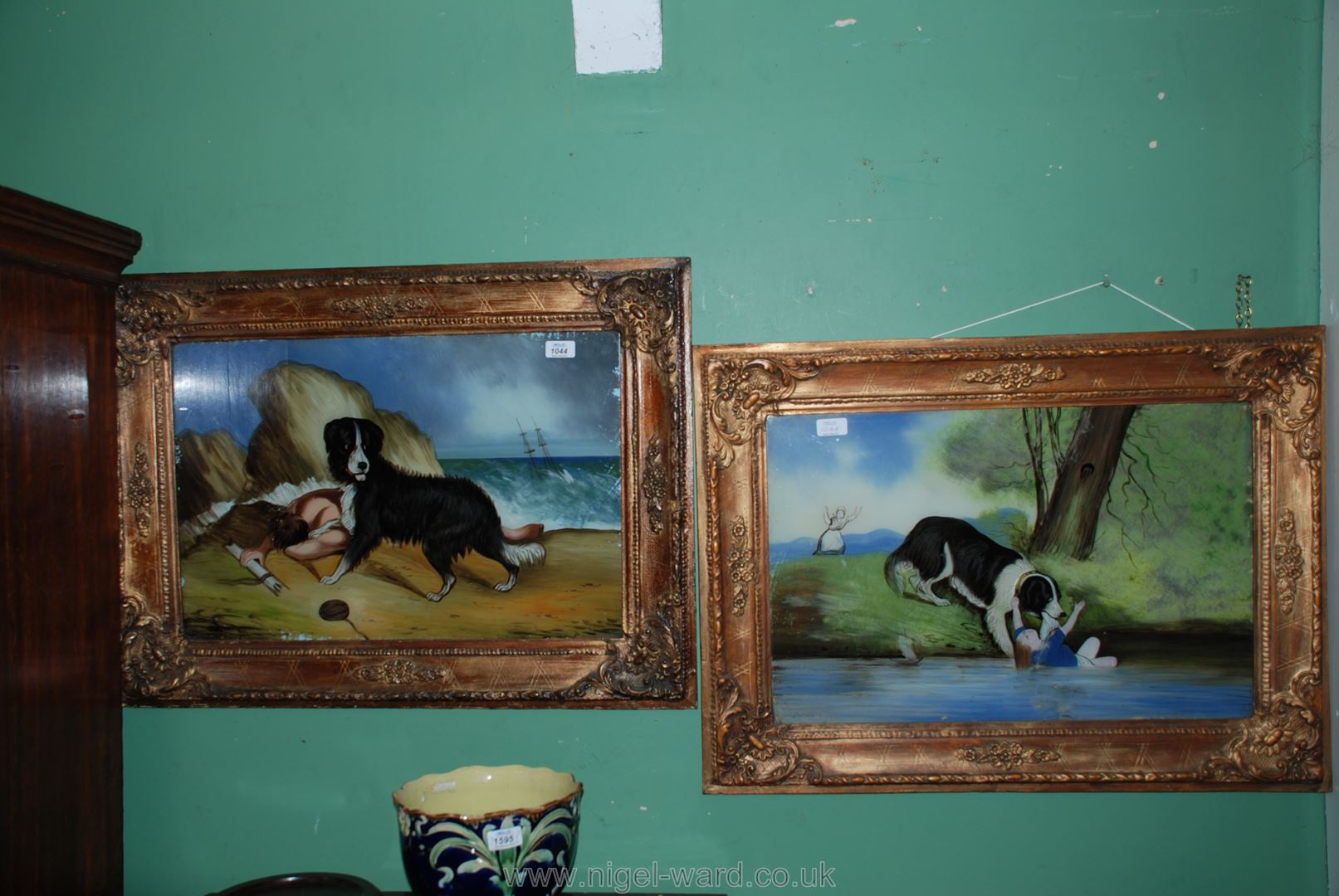 Lot 1044 - A pair of Victorian folk art naive paintings on glass of a dog rescuing a child and shipwrecked