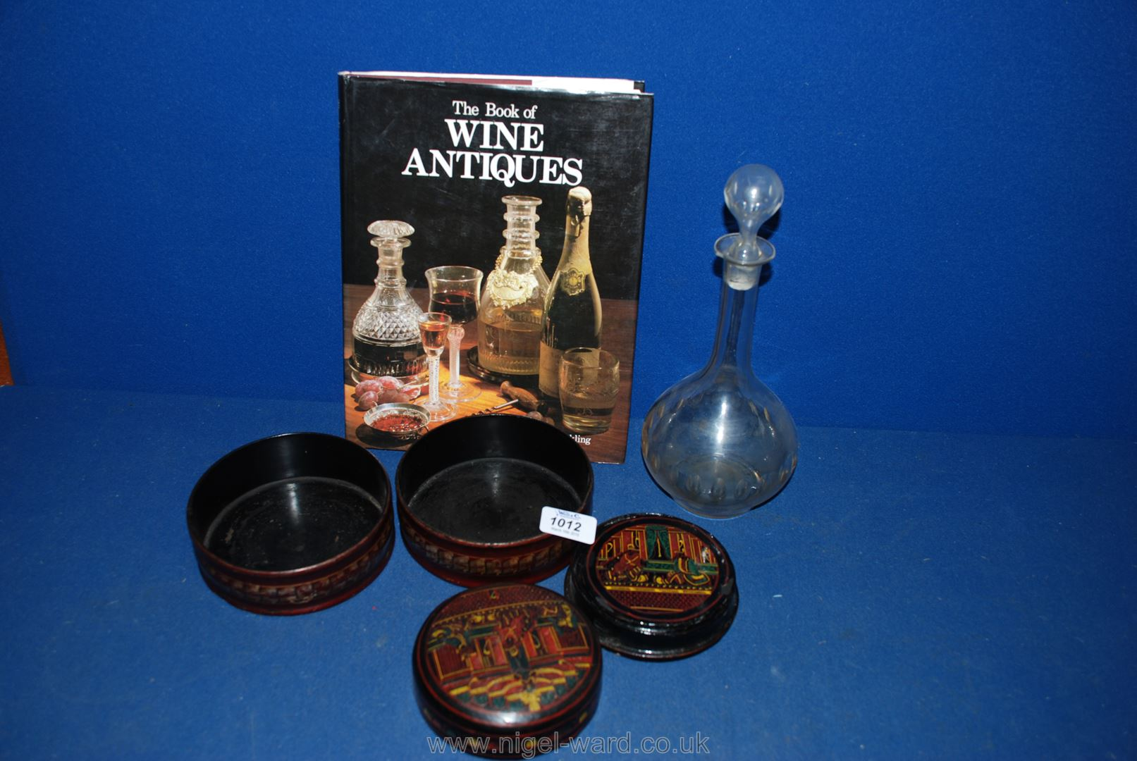 Lot 1012 - Four wine coasters, an early glass decanter a/f,