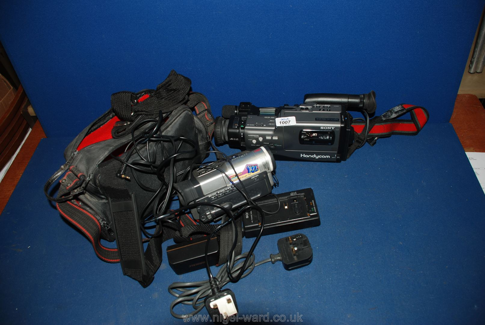 Lot 1007 - A Sony handycam Video 8 Camera with case, battery and charger.