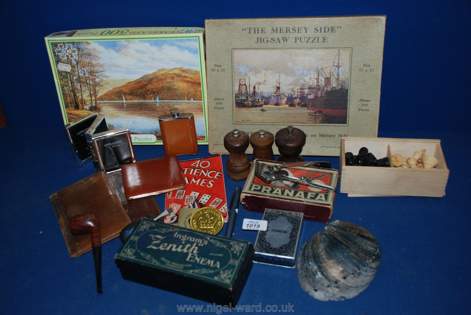 Lot 1019 - A quantity of miscellanea including wooden jigsaw puzzle 'The Merseyside', salt and pepper mills,