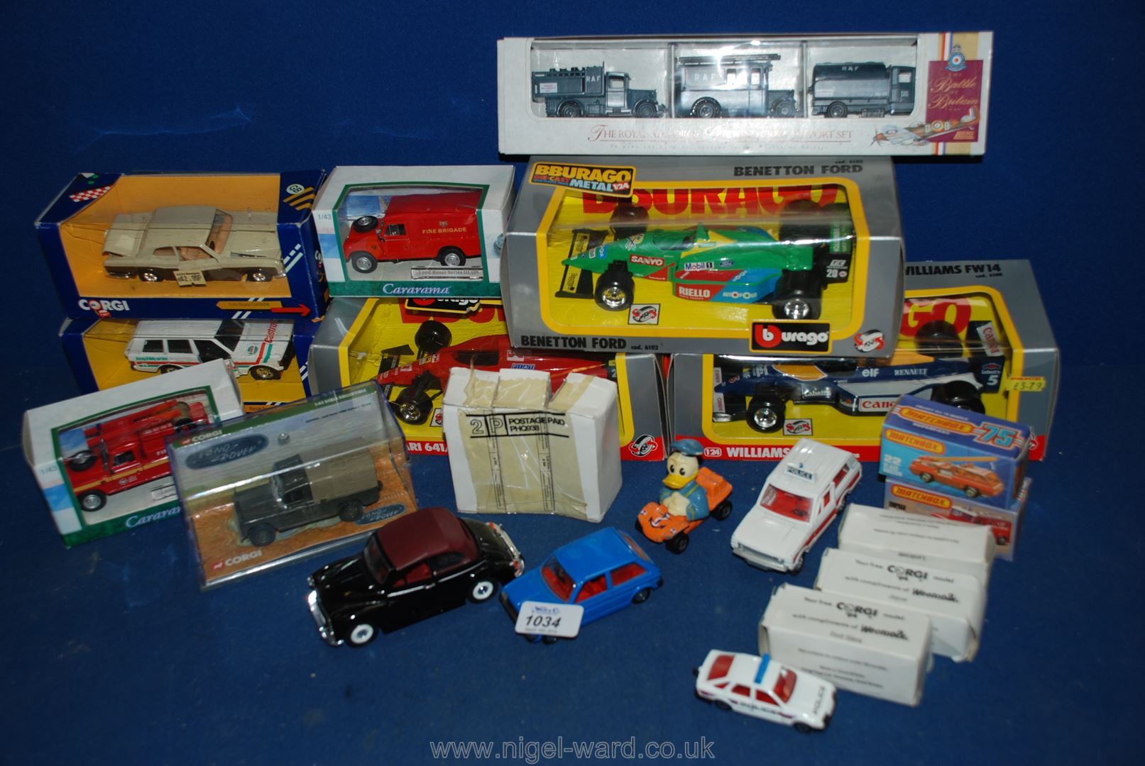 Lot 1034 - A quantity of Burago and Matchbox vehicles including; 'The Raf', Williams FW14, Bennetton Ford,