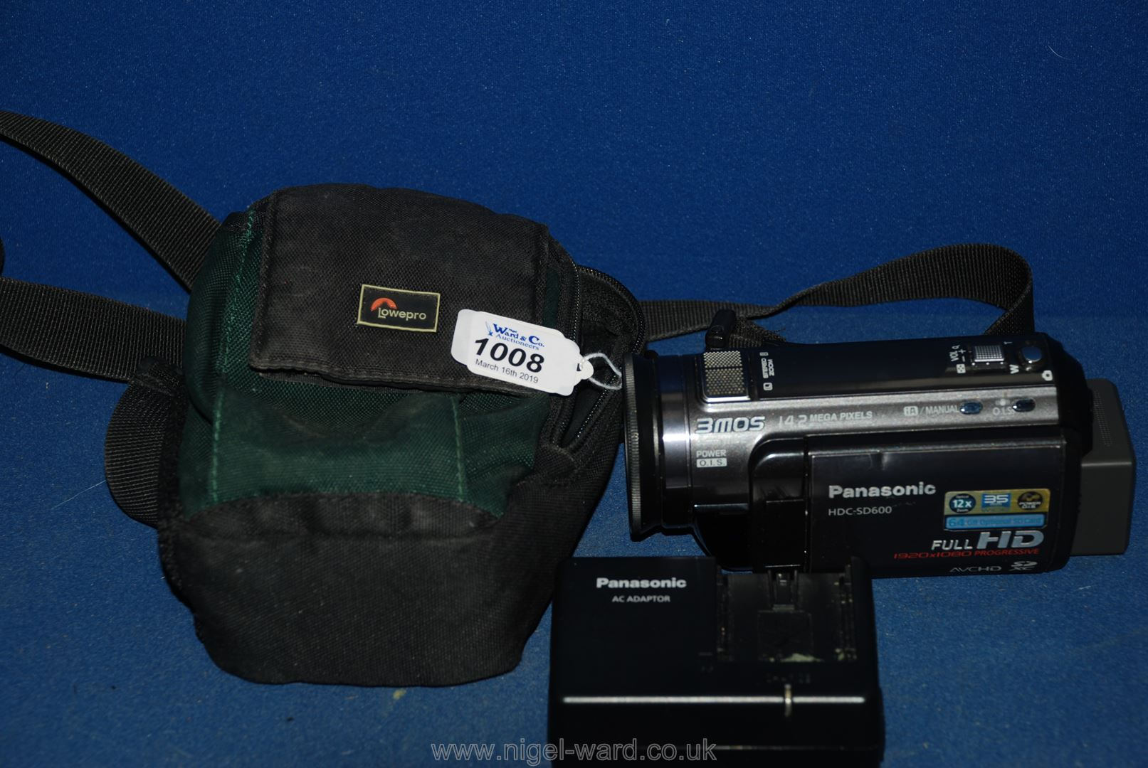 Lot 1008 - A Panasonic HDC SD600 Video Camera with case, battery and charger.