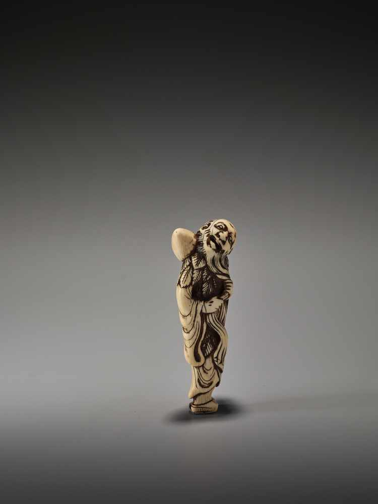 Lot 17 - A TALL IVORY NETSUKE OF CHOKARO SENNINUnsigned, ivory netsukeJapan, 18th century, Edo period (1615-