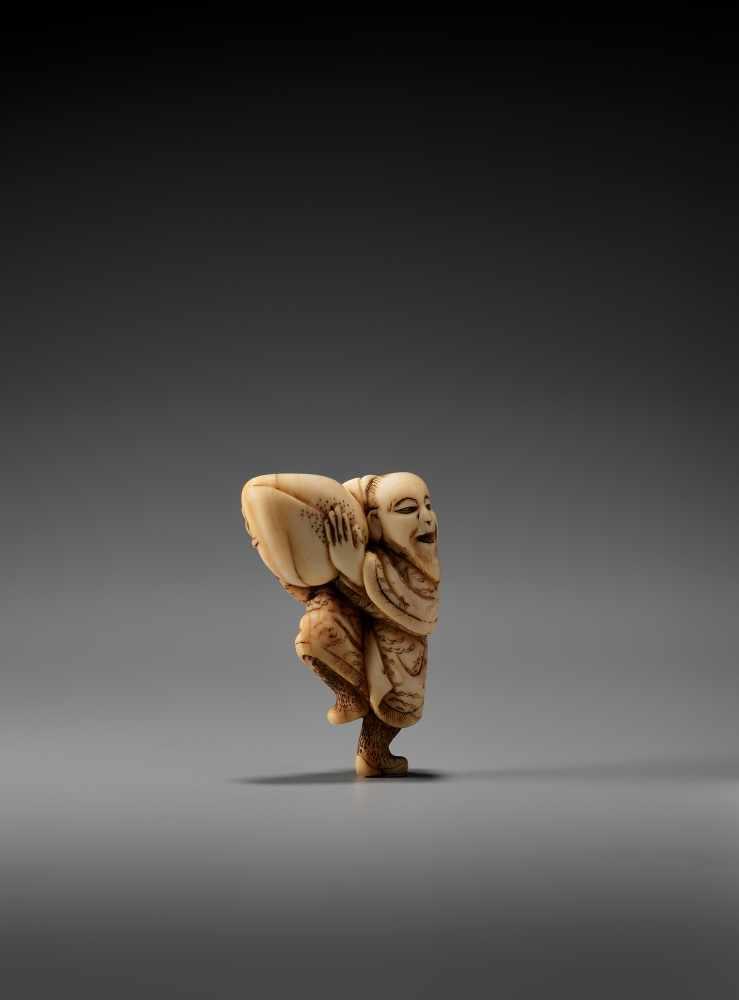 Los 5 - AN IVORY NETSUKE OF THE SENNIN TOBOSAKU BY MASAMORIBy Masamori, ivory netsukeJapan, 19th century,