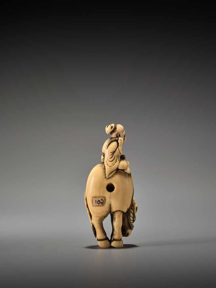 Los 13 - AN IVORY NETSUKE OF ROSHI ON WATER BUFFALOUnsigned, ivory netsukeJapan, 18th century, Edo period (
