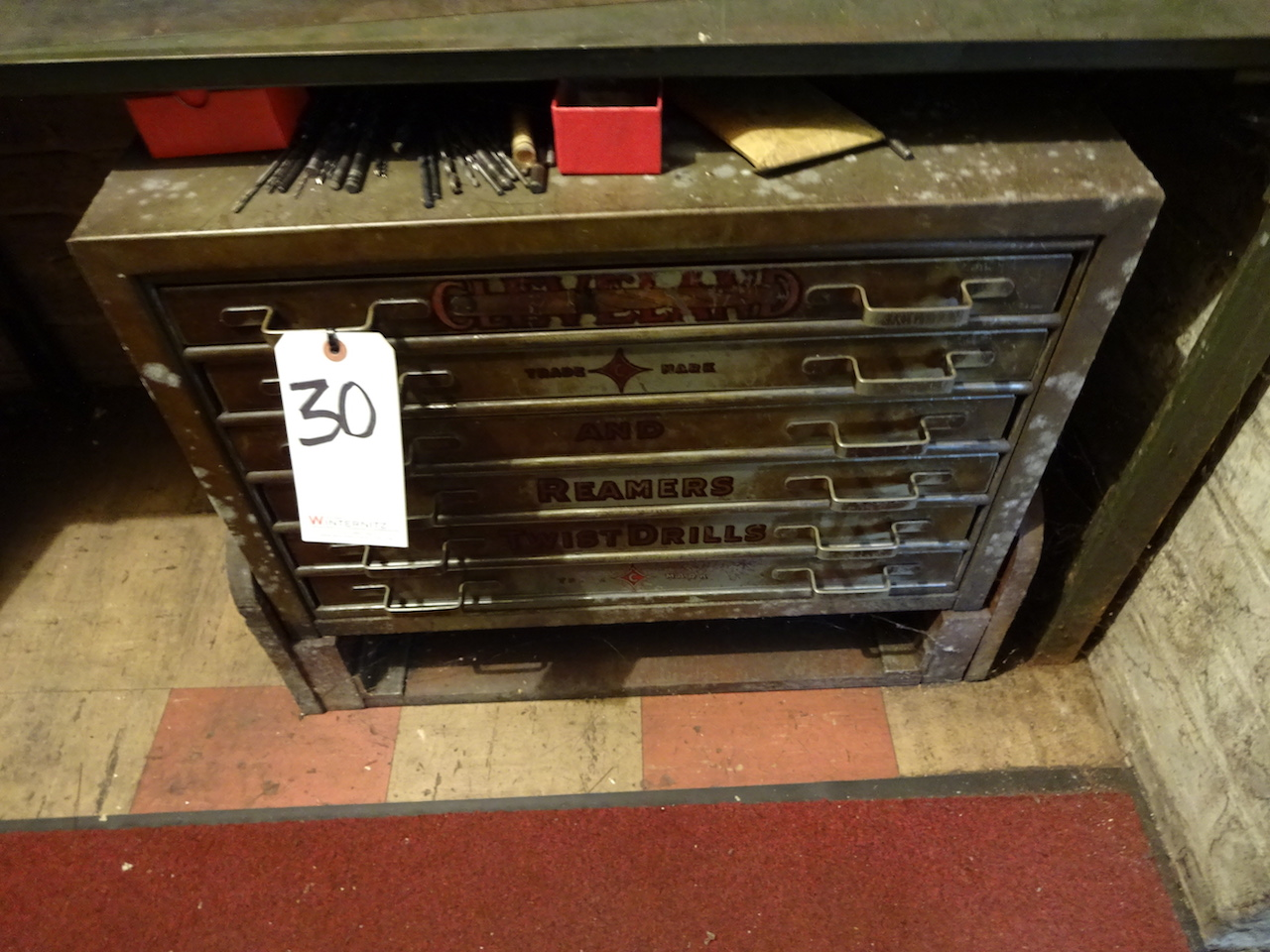 Lot 30 - LOT: Drill Cabinet with Drills