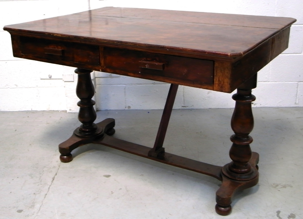 A victorian dining table base with turned baluster for Dining table support