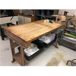 "Wood Topped Work Table 36"" X 60"" nio contents"