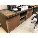 "2 Wood Top Work Tables with Metal Cabinets 36""X 60"""