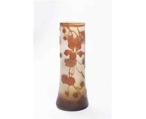 """MOSER VASE Ca. 1910 Bohemia Glass cameo 16,5 cm Signed: In lower half """"Moser"""" Moser vase in the highly fashionable style of t"""