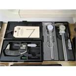 (1) Mitutoyo 1'' - 2'' Digital Micrometer & (2) Calipers