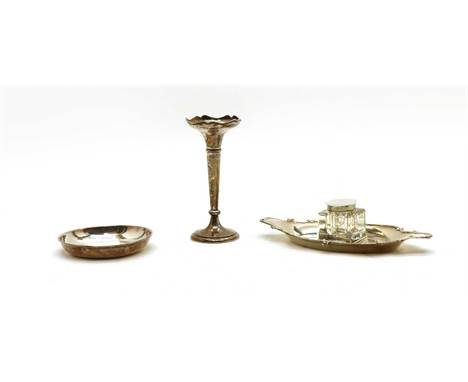 A silver inkstand, a specimen vase and a dish, the stand by Robert Pringle & Sons, London 1924, with glass inkwell, 18cm