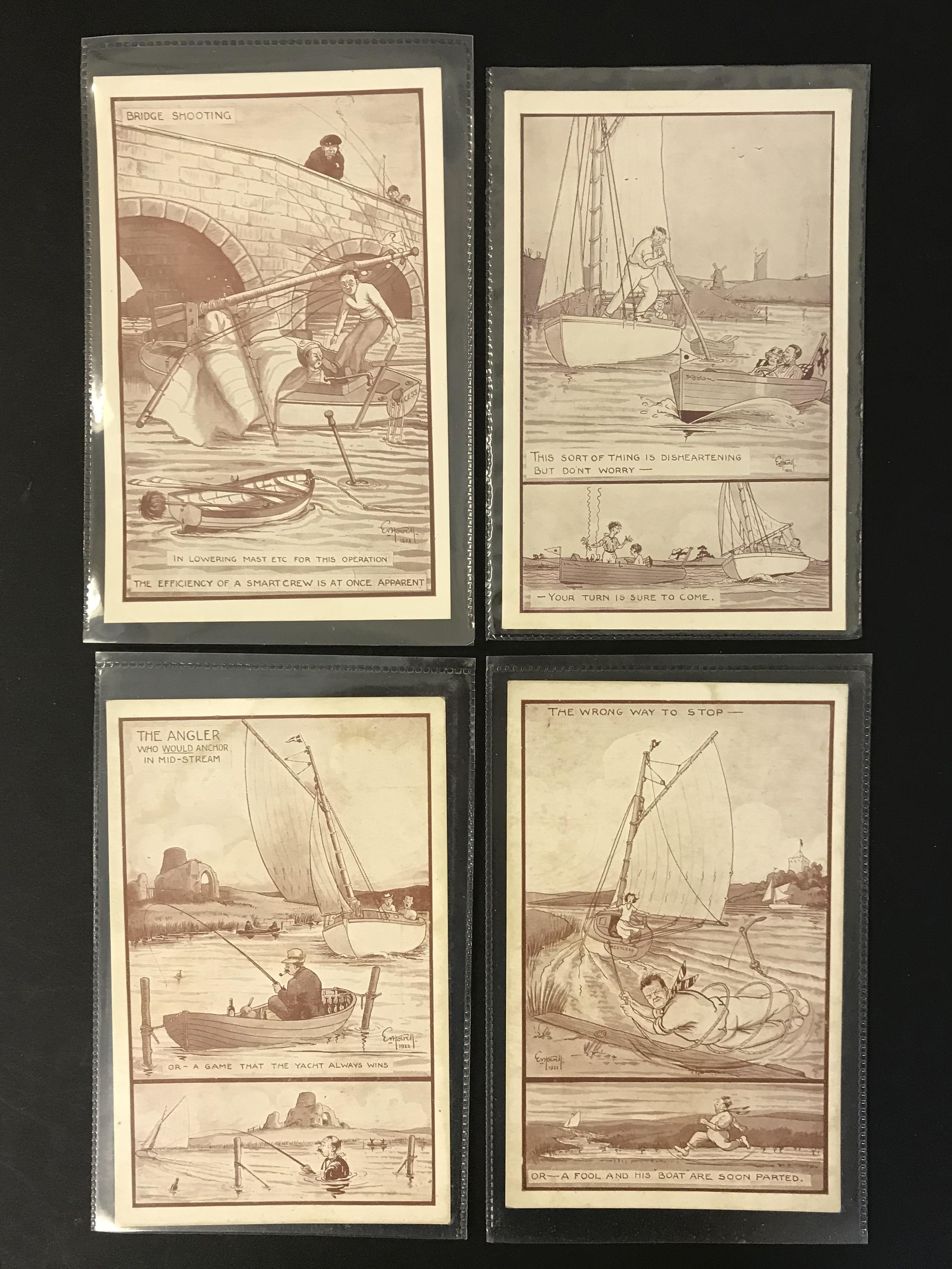 COMPLETE SET OF TWELVE ARTIST SIGNED COMIC POSTCARDS - NORFOLK BROADS - Image 3 of 4