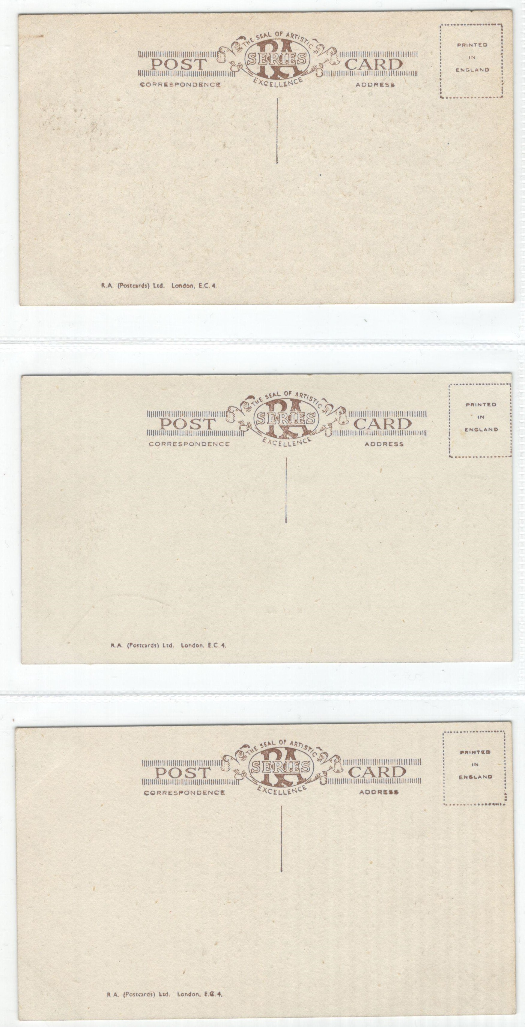 SET OF SIX VINTAGE POSTCARDS - THE SEAL OF THE ARTISTIC EXCELLENCE SEAL RA SERIES - Image 2 of 4