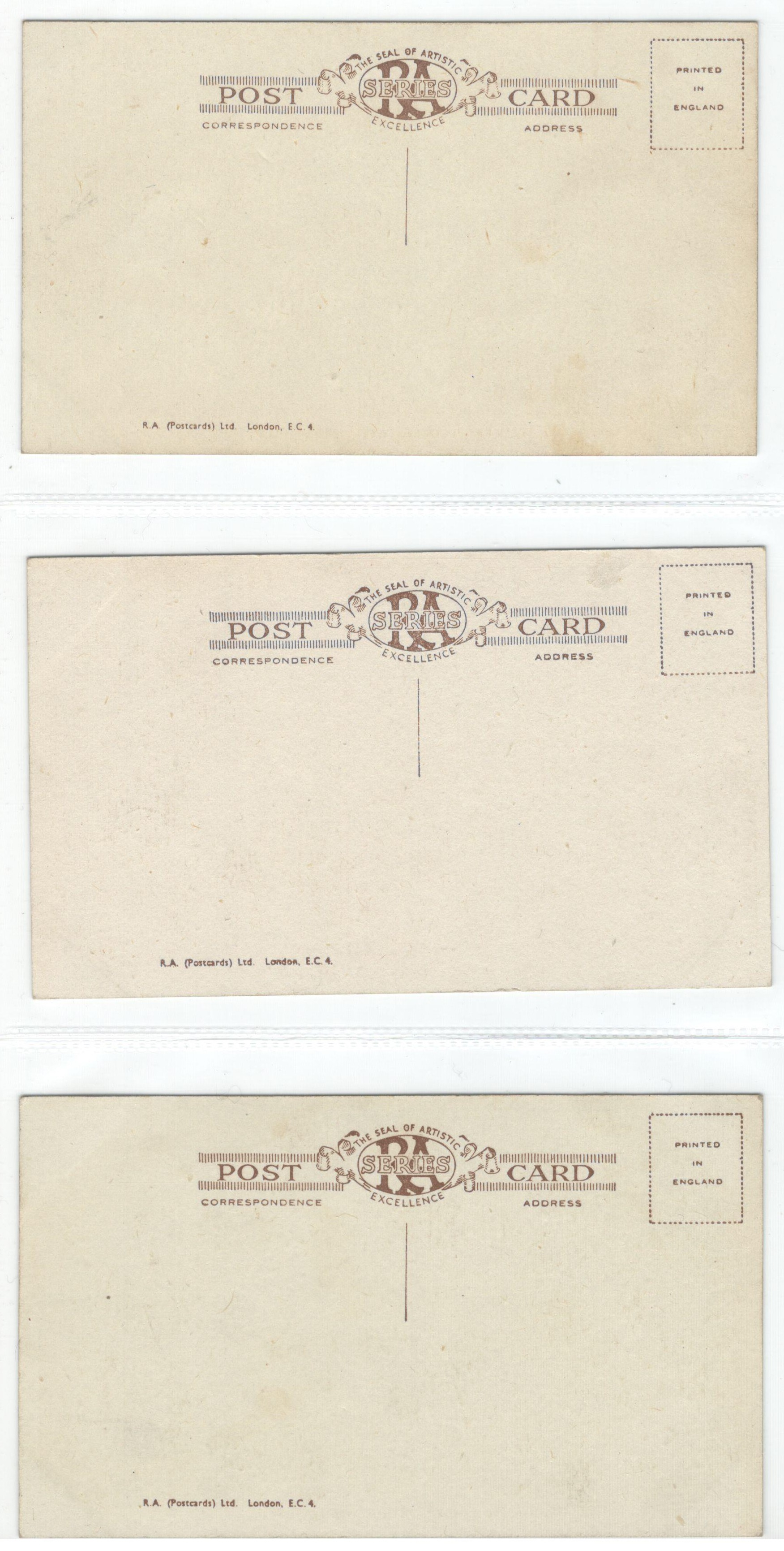 SET OF SIX VINTAGE POSTCARDS - THE SEAL OF THE ARTISTIC EXCELLENCE SEAL RA SERIES - Image 4 of 4