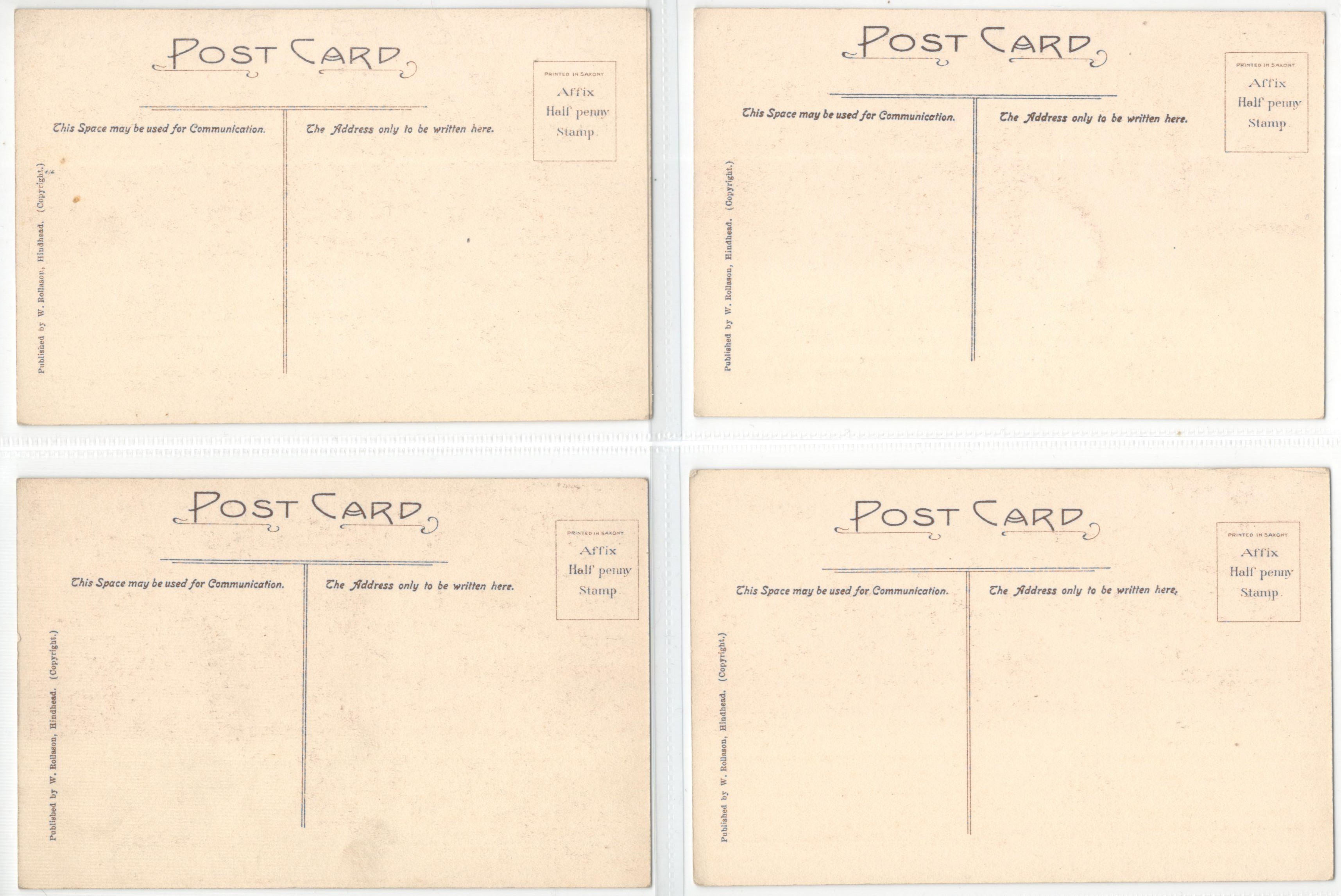 SET OF FOUR POSTCARDS FROM THE ORIGINAL PICTURES AT THE ROYAL HUTS HOTEL HINDHEAD - Image 2 of 2
