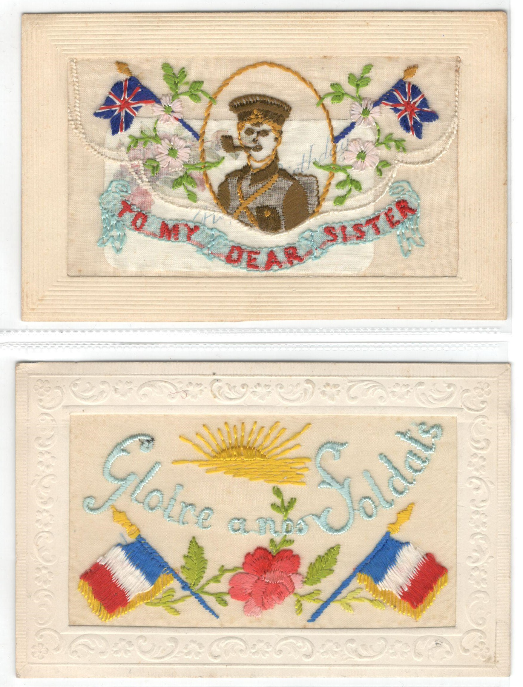 FIFTEEN EARLY EMBROIDERED SILK POSTCARDS IN VARIOUS CONDITION - Image 5 of 9