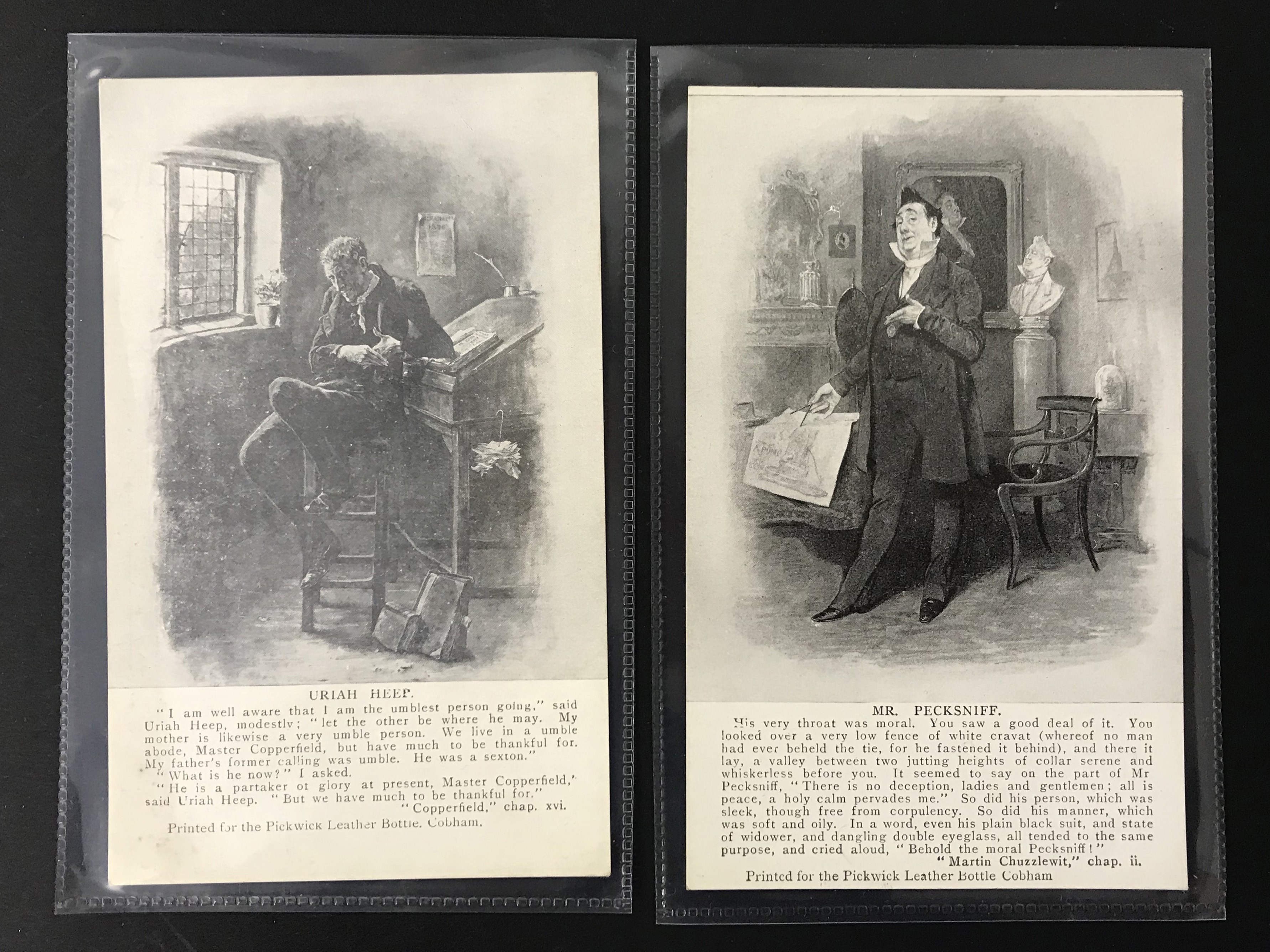 GROUP OF SEVEN DICKENS RELATED POSTCARDSPRINTED FOR THE PICKWICK LEATHER BOTTLE COMPANY - Image 4 of 6