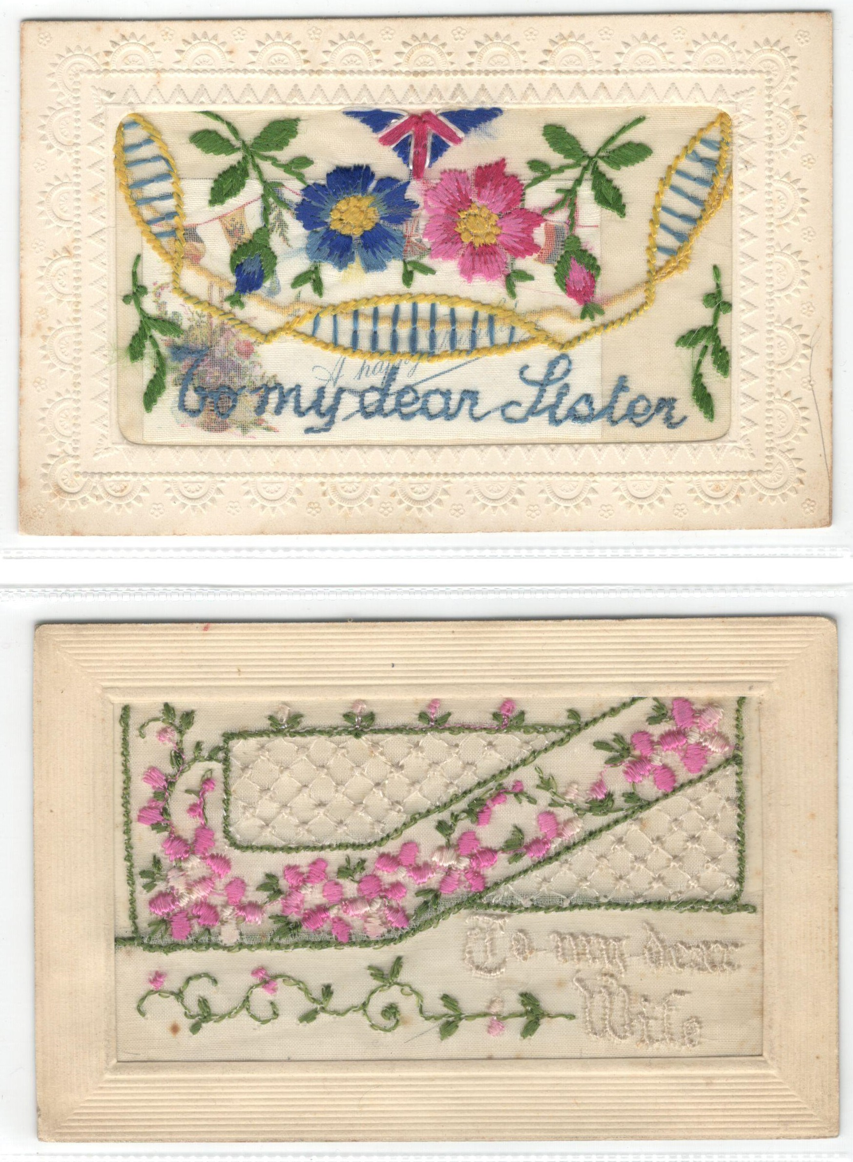 FIFTEEN EARLY EMBROIDERED SILK POSTCARDS IN VARIOUS CONDITION - Image 6 of 9