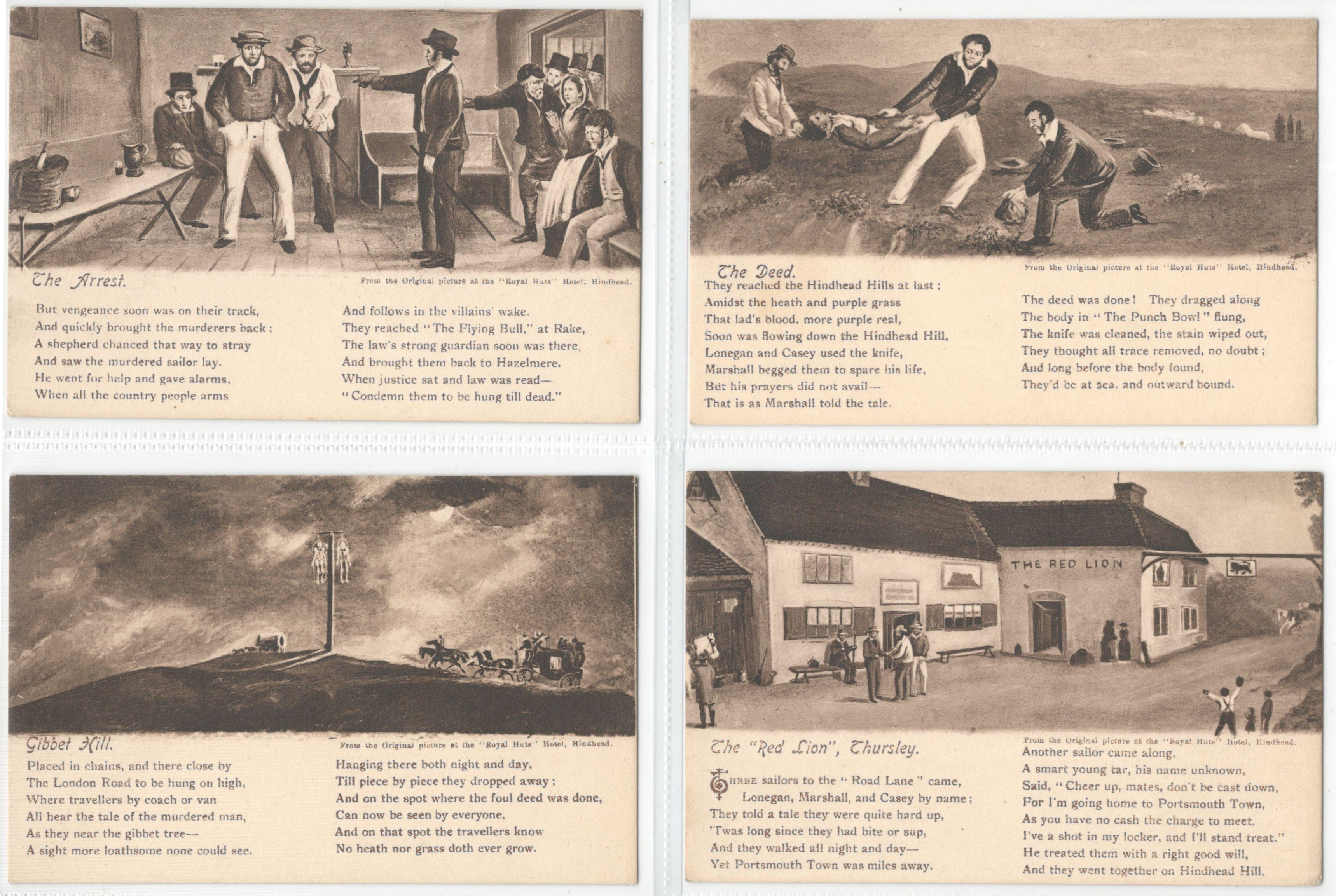 SET OF FOUR POSTCARDS FROM THE ORIGINAL PICTURES AT THE ROYAL HUTS HOTEL HINDHEAD
