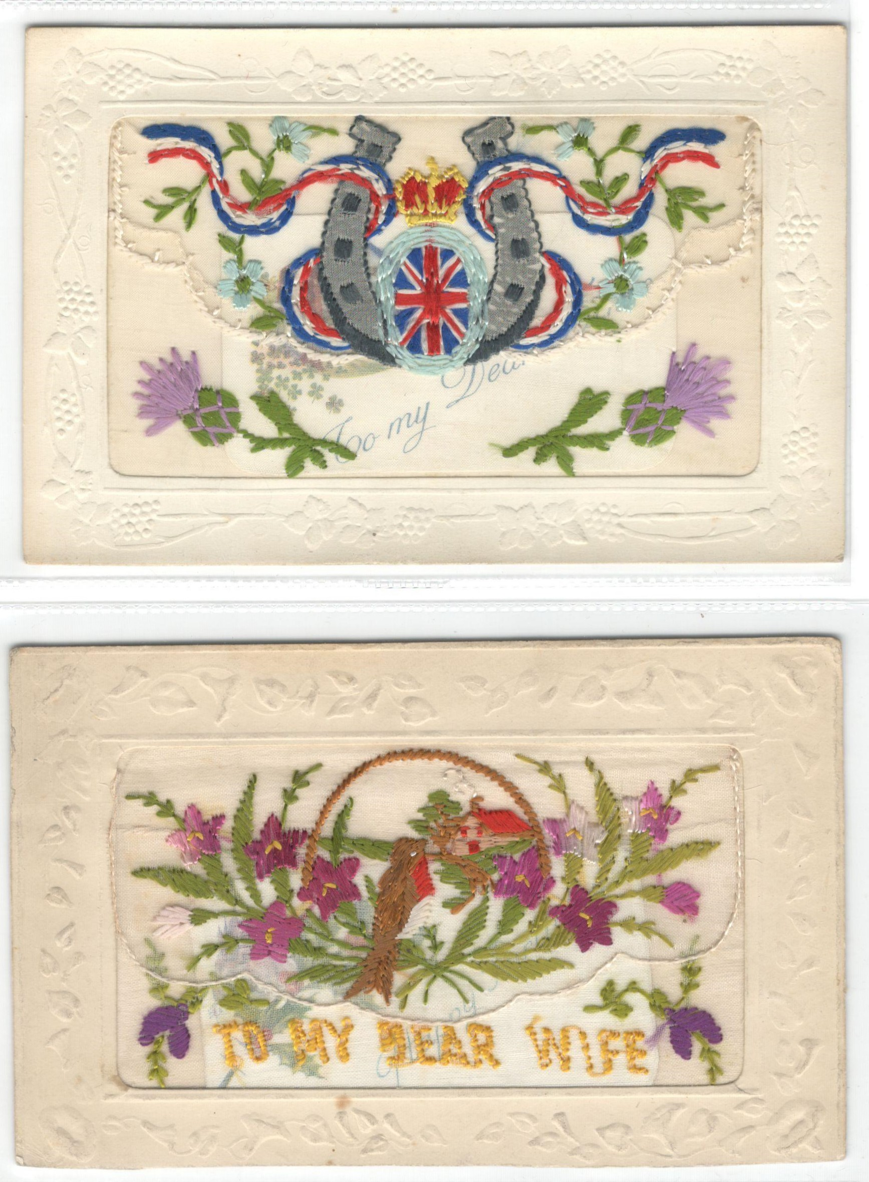 FIFTEEN EARLY EMBROIDERED SILK POSTCARDS IN VARIOUS CONDITION - Image 9 of 9