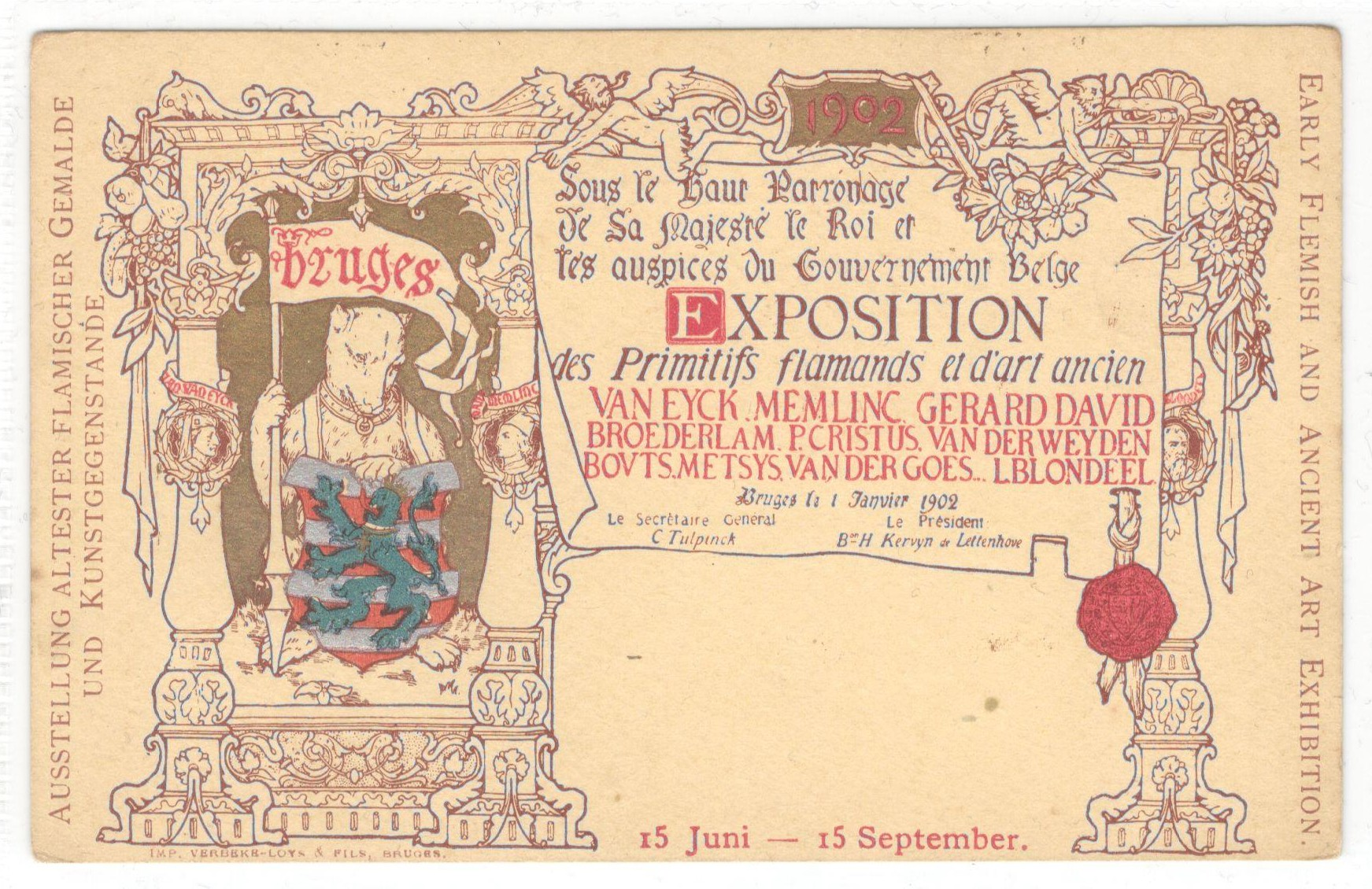 1902 EARLY FLEMISH AND ANCIENT ART EXHIBITION POSTCARD