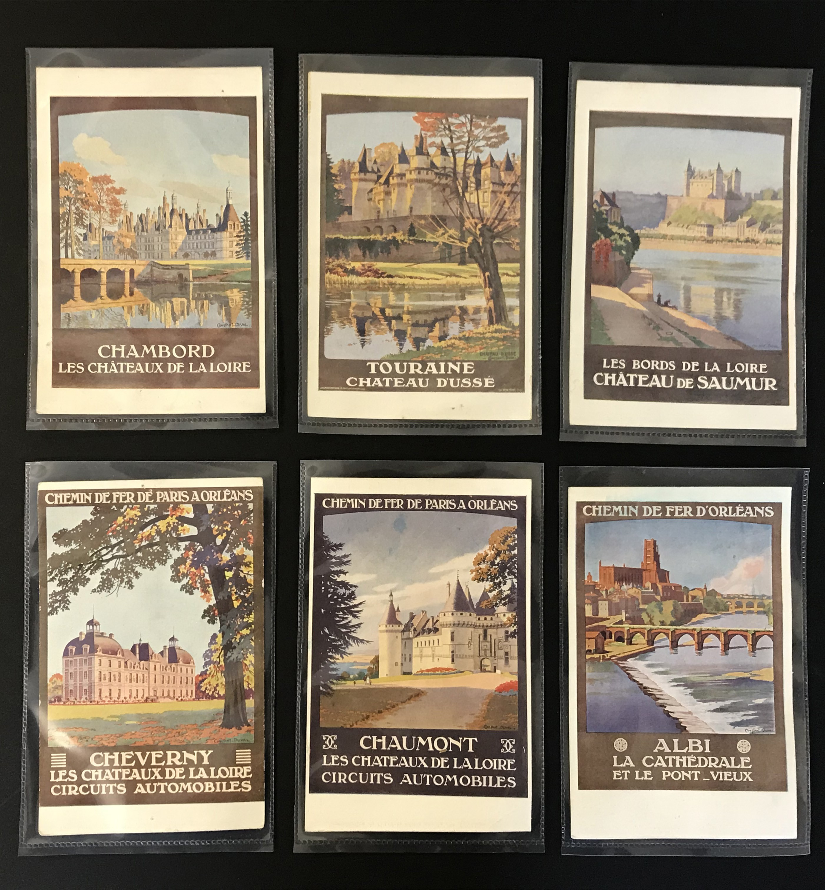 SIX FRENCH OLD POSTCARDS PROMOTING TOURIST DESTINATIONS