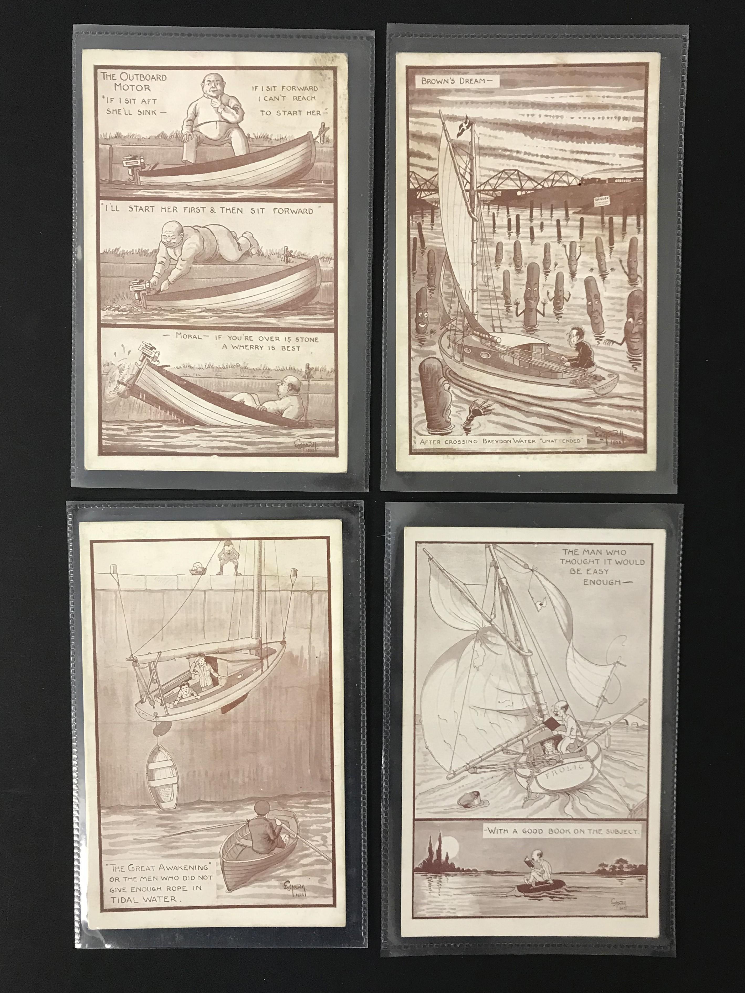 COMPLETE SET OF TWELVE ARTIST SIGNED COMIC POSTCARDS - NORFOLK BROADS - Image 2 of 4