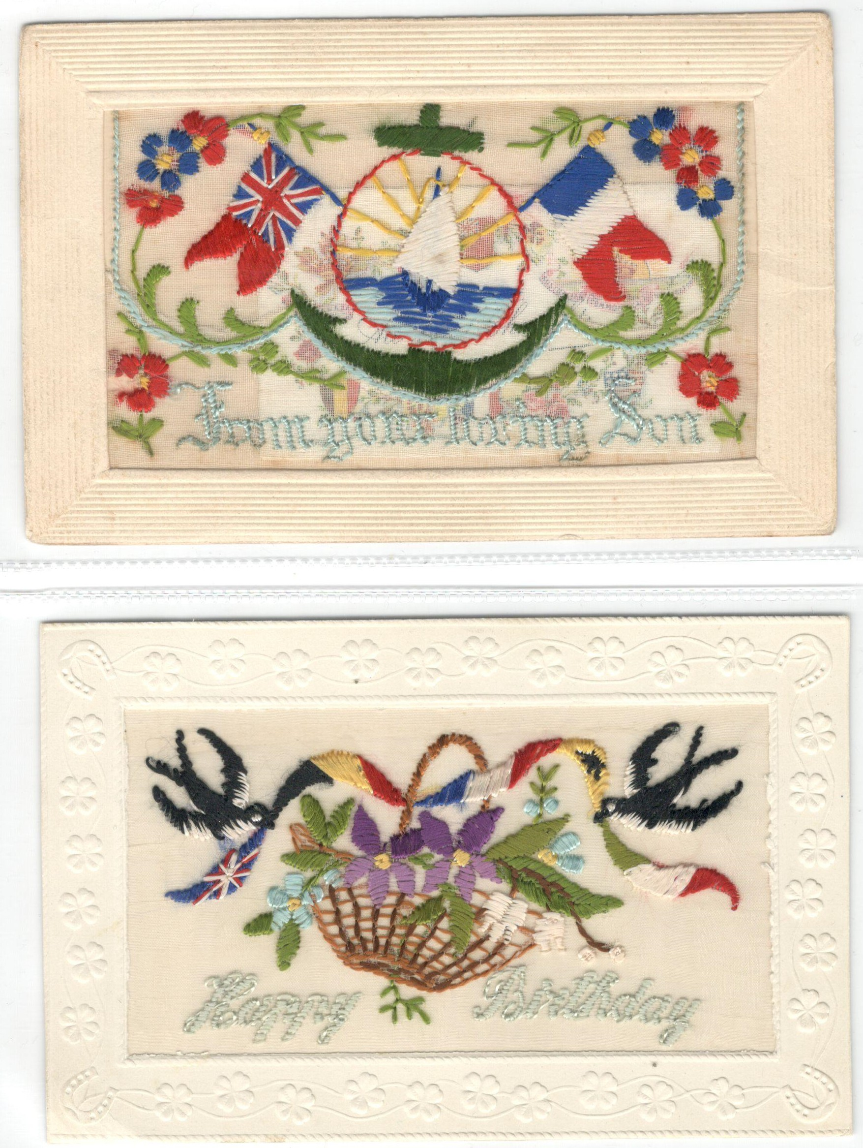 FIFTEEN EARLY EMBROIDERED SILK POSTCARDS IN VARIOUS CONDITION - Image 4 of 9